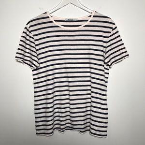 T Alexander Wang Striped Linen Short Sleeve Shirt